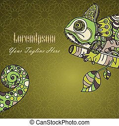 Hand drawn chameleon. Ethnic tribal styled pattern with...