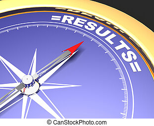 Abstract compass with needle pointing the word results.results concept