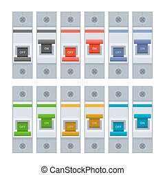 Color Circuit Breakers Set on White Background. Vector...