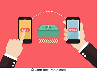 Transfer money by smart phone vector illustration