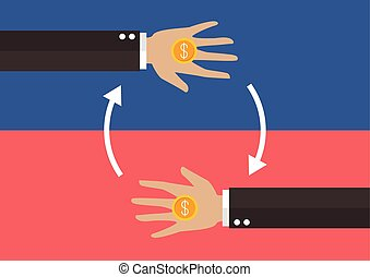 Transferring Money and payment vector illustration