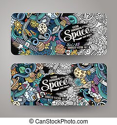 Cartoon cute doodles hand drawn space banners