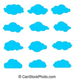 set of simple clouds - collection of blue clouds on a white...