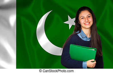Teen student smiling over Pakistani flag. Concept of lessons...