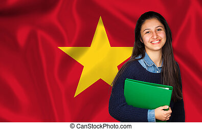 Teen student smiling over Vietnamese flag Concept of lessons...