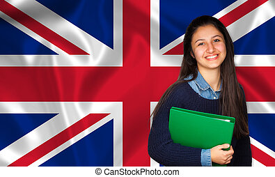 Teen student smiling over English flag. Concept of lessons...