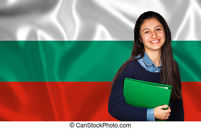 Teen student smiling over Bulgarian flag Concept of lessons...