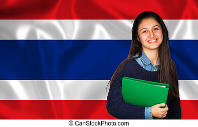Teen student smiling over Thai flag Concept of lessons and...