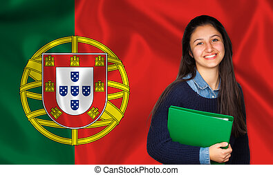 Teen student smiling over Portuguese flag. Concept of...