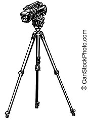 video camera on a tripod - black and white vector sketch of...