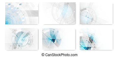 Set of abstract technological futuristic background.
