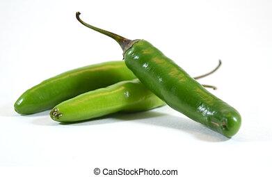 Spicy green serrano pepper (capsicum anuum) - isolated