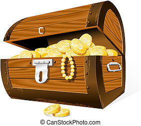 Treasure Chest - Opened Treasure Chest isolated on the white...
