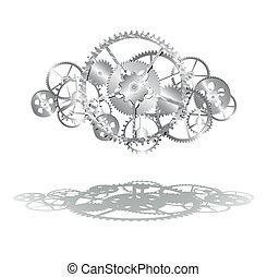 gears clock 01.eps - steel gears on the white background...