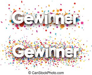 Winner paper banners. - Winner paper banners set with color...