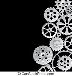 grid on a black - gray gears on black background, vector...