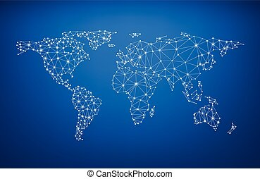 Global communications world map. - Blue global...