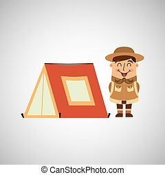people person man boy scout camp isolated, vector...