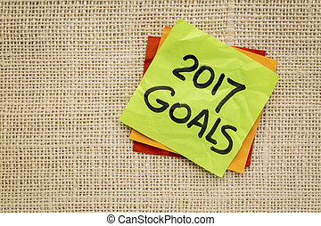 2017 New Year goals on sticky note