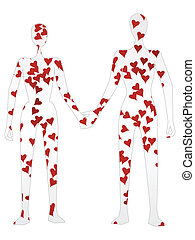 Silhouette Couple Holding Hands in