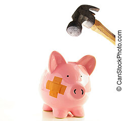 Piggy bank with bandage about to be smahed by a hammer,...