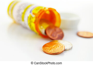 Pill bottle with coins(health care costs)