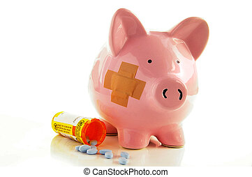 Bandaged Piggy bank with pillshealthcare costs
