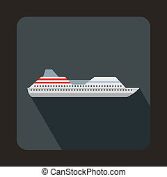 Cruise liner icon in flat style