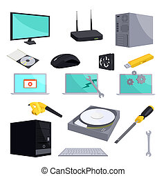 Computer repair icons set, cartoon style - Computer repair...