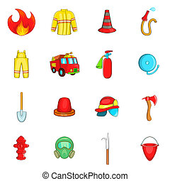 Fireman icons set, cartoon style - Fireman icons set in...