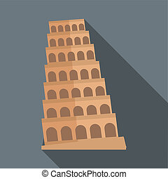Leaning tower of Pisa icon, flat style - Leaning tower of...