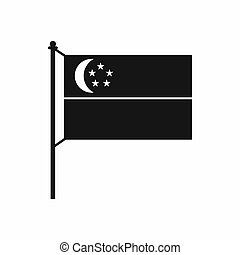 Flag of Singapore icon, simple style - Flag of Singapore...