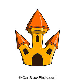 Castle icon in cartoon style - icon in cartoon style on a...
