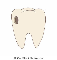 Tooth with caries icon, cartoon style