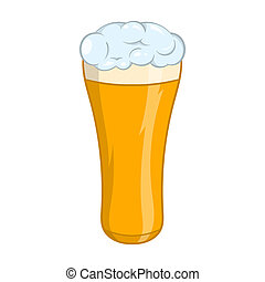 Glass of beer icon, cartoon style - icon in cartoon style on...