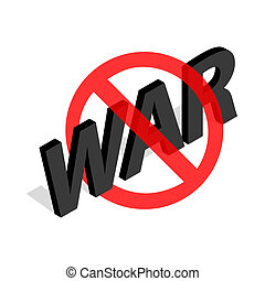 No war sign icon in isometric 3d style - icon in isometric...