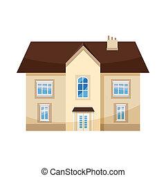 Two storey house icon, cartoon style