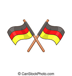 Two crossed flags of Germany icon, cartoon style - icon in...