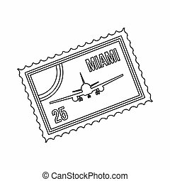 Stamp with plane and text Miami inside icon in outline style...