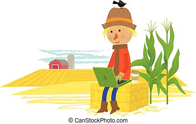 Taking A Break - Cute scarecrow sits on haystack with his...
