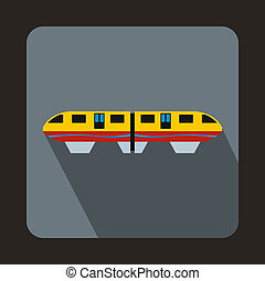 A colorful monorail train icon, flat style - icon in flat...