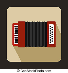 Red accordion icon, flat style - icon in flat style on a...