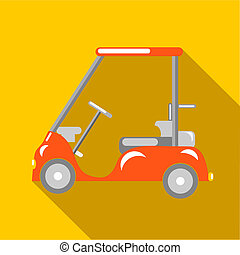 Orange golf car icon, flat style - Orange golf car icon in...