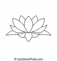 Lotus flower icon, outline style - Lotus flower icon in...