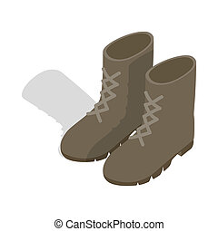 Combat military boots icon, isometric 3d style - icon in...