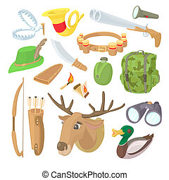 Hunting icons set, cartoon style - Hunting icons set in...