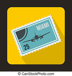 Stamp with plane and text Miami inside icon - icon in flat...