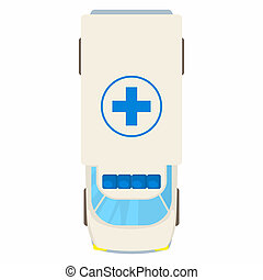 Ambulance car top view icon, cartoon style - icon in cartoon...