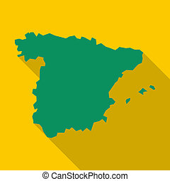 Map of Spain icon, flat style - Map of Spain icon in flat...