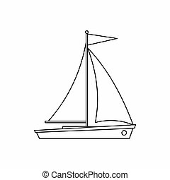 Yacht icon, outline style - Yacht icon in outline style...